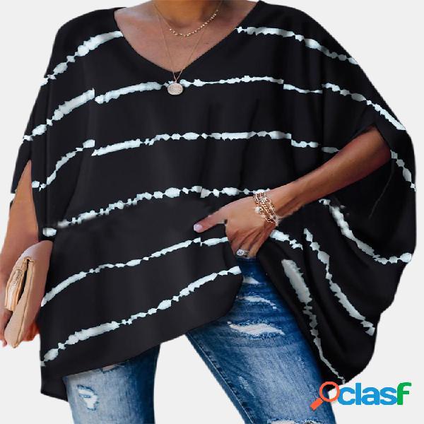 Blusa de manga curta estampa listrada plus tamanho feminino