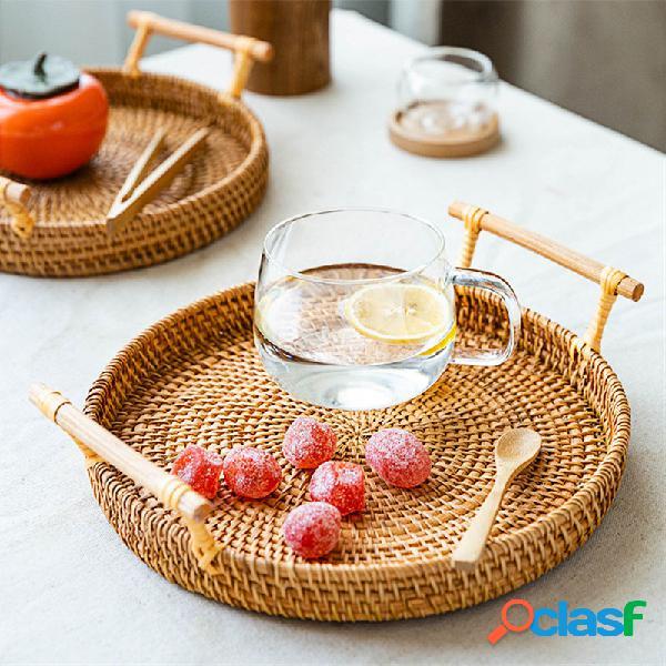 Cesta de piquenique em tecido pão de frutas lanches cesta de armazenamento portátil de vime cesta de armazenamento de mesa para sala de estar