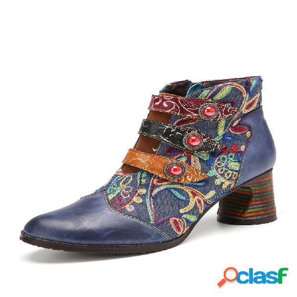 Socofy costuras de bordado de flores couro genuíno botas para tornozelo de salto grosso de sola vestível