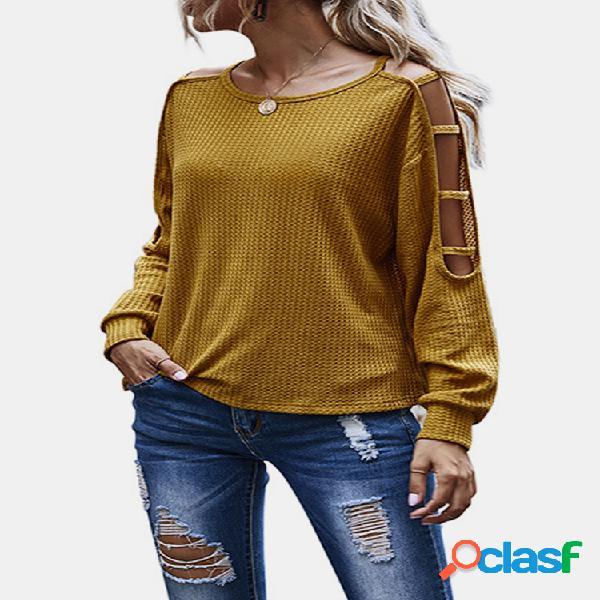 Suéter casual oco de manga longa cor sólida para mulheres