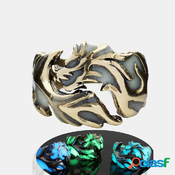 Anéis luminosos de halloween vintage de metal oco voando dragão anéis masculinos acessórios de joias