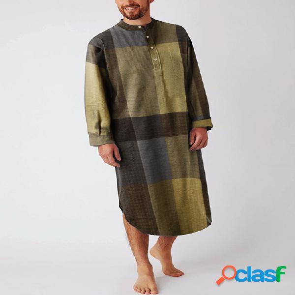 Camisas masculinas de algodão étnico guingão até a panturrilha design robes casuais respiráveis
