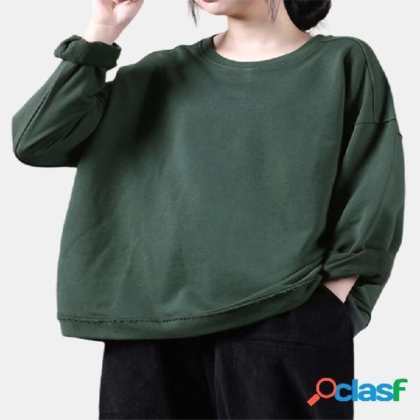 Camisola feminina de mangas compridas com decote em o