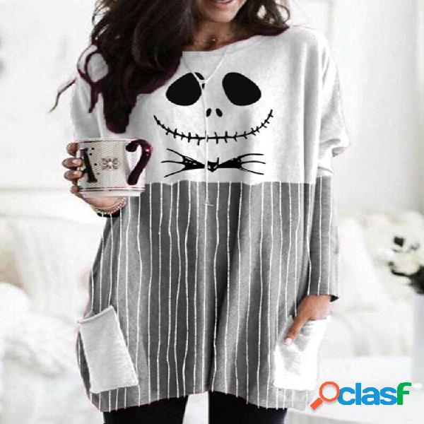 Caveira blusa com estampa listrada manga comprida linha a plus tamanho com bolsos