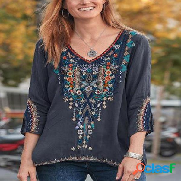 Blusa bordada folgada estilo étnico com decote em v para mulheres
