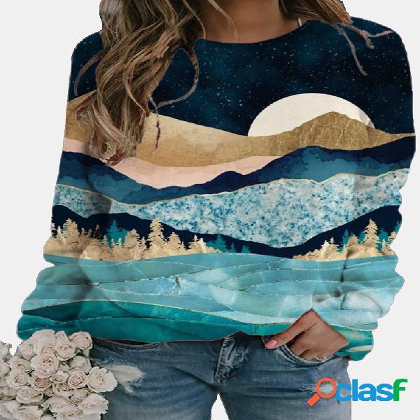 Blusa feminina com decote em o com estampa de paisagem casual