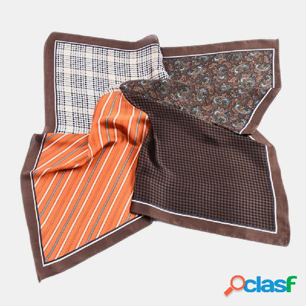 Cachecol quadrado pequeno de seda com estampa retro de seda de cetim lenço de cabeça lenço selvagem