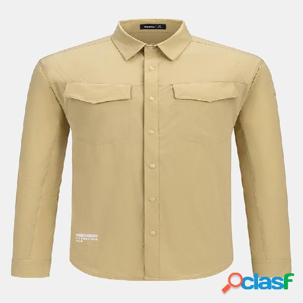 Camel crown slogan masculino impressão traseira sólida secagem rápida respirável fina lapela camisas de manga comprida