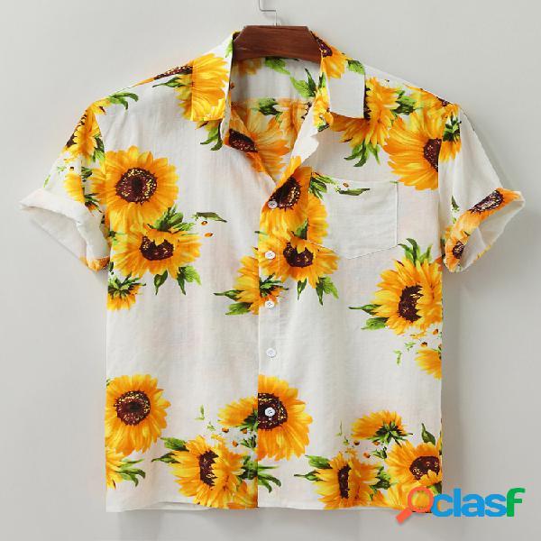 Camisa da moda masculina com estampa de girassol no havaí para viagens e lazer