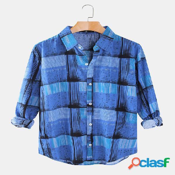 Camiseta masculina estampa xadrez casual solta design lapela com colarinho de manga comprida