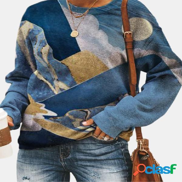 Moletom casual de manga comprida com decote em o com estampa paisagem para mulheres