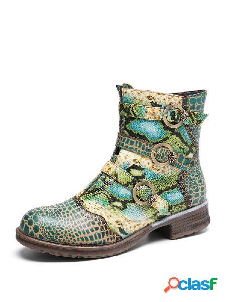 Socofy serpentine impresso couro fivela tira decoração botas de salto em bloco vestíveis confortáveis