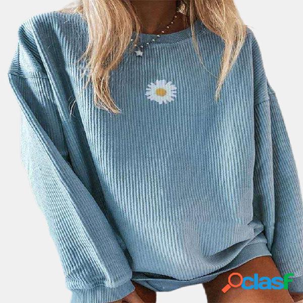 Blusa casual com estampa floral margarida com gola o, manga comprida com nervuras para mulheres