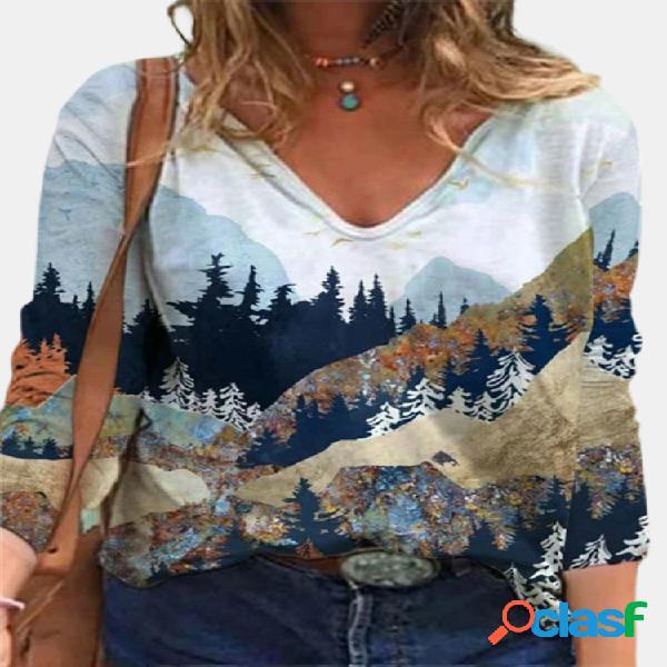 Blusa casual para mulheres com decote em v com estampa paisagem de manga comprida