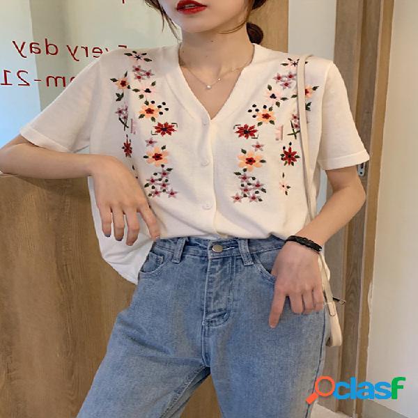 Blusa de manga curta de tricô com decote em v estilo coreano bordado de flores para mulheres