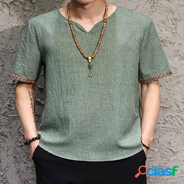 Camisetas masculinas de cor sólida com decote em v casual de manga curta