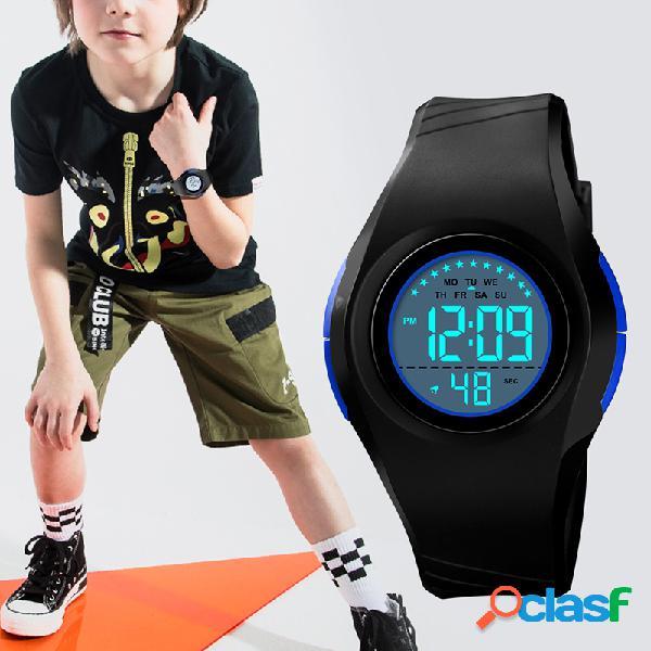 Relógio esportivo infantil com pulseira de pu alarme à prova d 'água luminosa estrela eletrônico