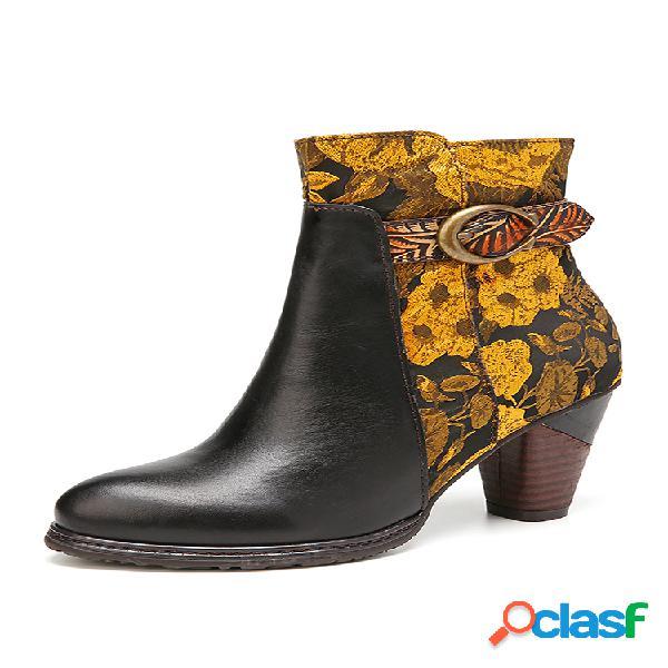 Socofy fivela de flores com alça de fivela em tecido cor sólida couro genuíno botas curtas de salto confortável