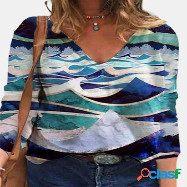 Blusa feminina com decote em v de manga comprida vintage com estampa paisagem