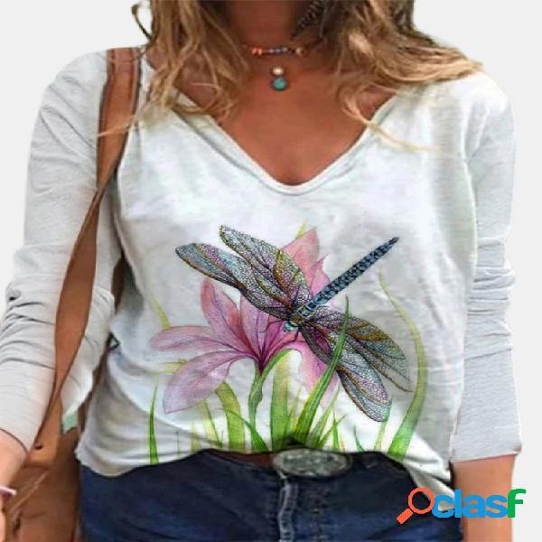 Blusa feminina com estampa de libélula florida com decote em v