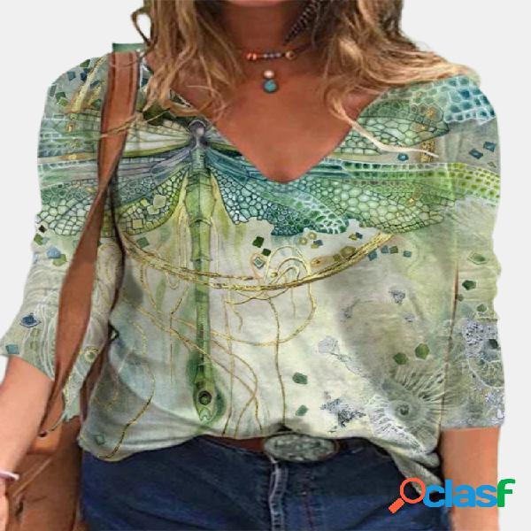 Blusa feminina com estampa libélula de manga comprida com decote em v vintage