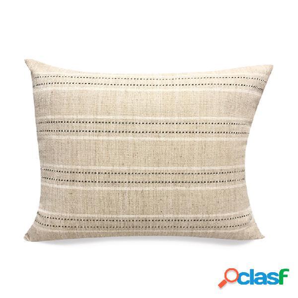 Travesseiro linho liso listrado quadrado treliça moderno minimalista travesseiro capa de almofada para sala de estar