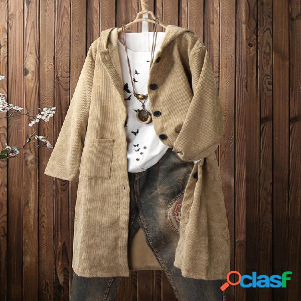 Casaco de veludo cotelê de cor sólida botão com capuz e bolsos