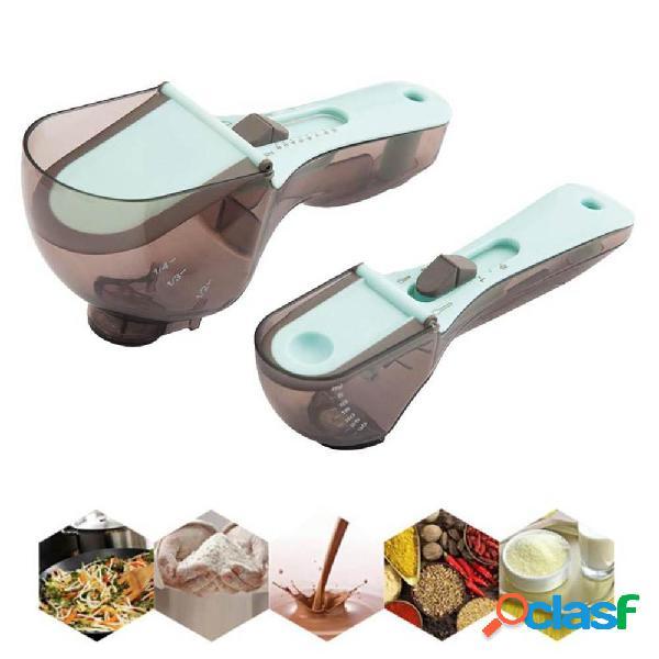 Conjunto de colher de medição de balança ferramenta de cozimento de medição ajustável ferramentas de cozinha conjunto de colher de 2 peças