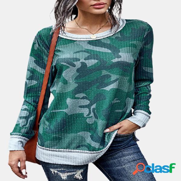 Moletom de patchwork com estampa camuflada de manga comprida com decote em o para mulheres