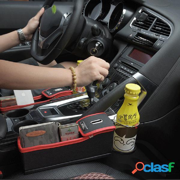 Armazenamento de espaço para assento de carro caixa porta-copos multifunções de couro para carro armazenamento de moedas caixa