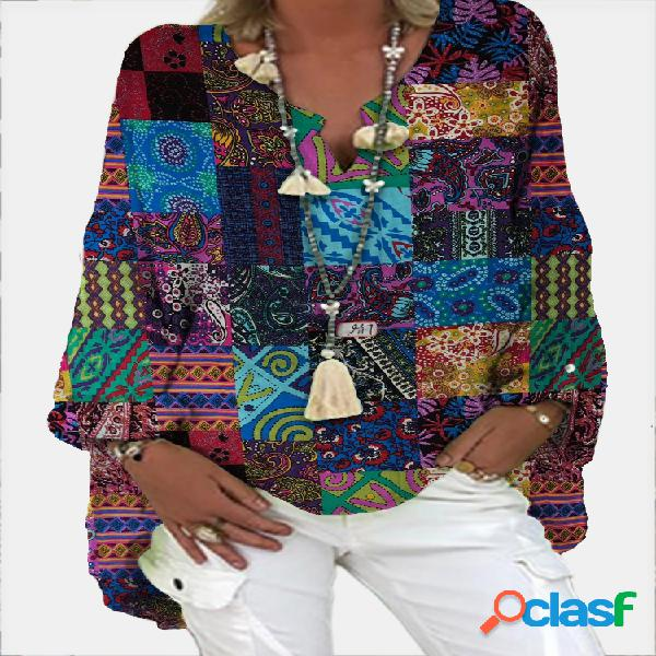 Blusa vintage com decote em v manga comprida solta
