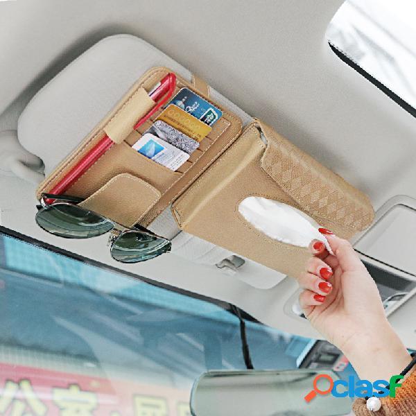 Armazenamento multifuncional de couro para carro bolsa porta-licença para cartão de capa de viseira tecido suspenso bolsa óculos pasta