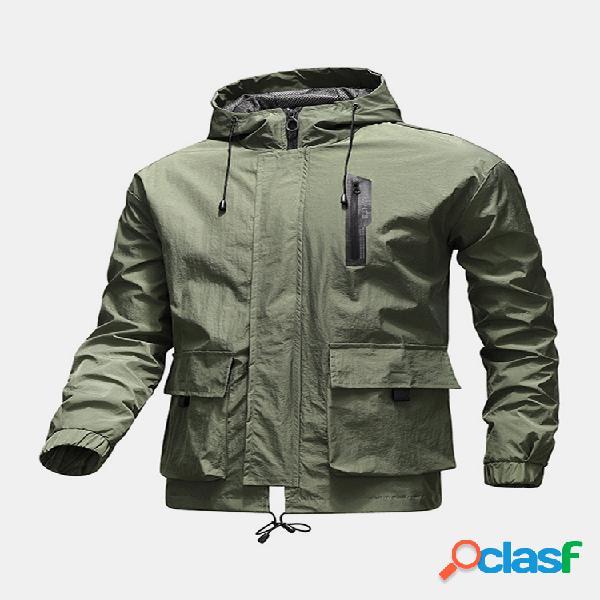 Jaquetas masculinas com capuz com zíper frontal com cordão e cordão estampado nas costas