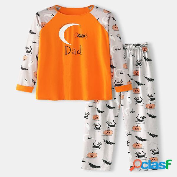 Conjuntos de pijamas casuais de duas peças com estampa masculina de abóbora e aranha de halloween