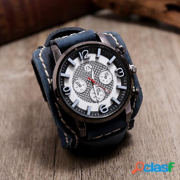 Relógio vintage com pulseira de couro de vaca com numerais estereoscópicos design relógio masculino de quartzo