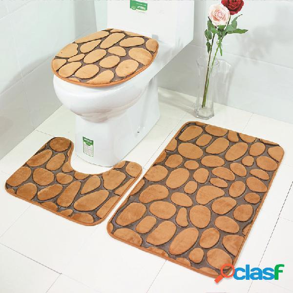 3 unidades 3d impresso em pedra banheiro conjunto de tapetes tapetes de toalete coral fleece tampa de assento de vaso sanitário tapete de pedestal tapete de chuveiro
