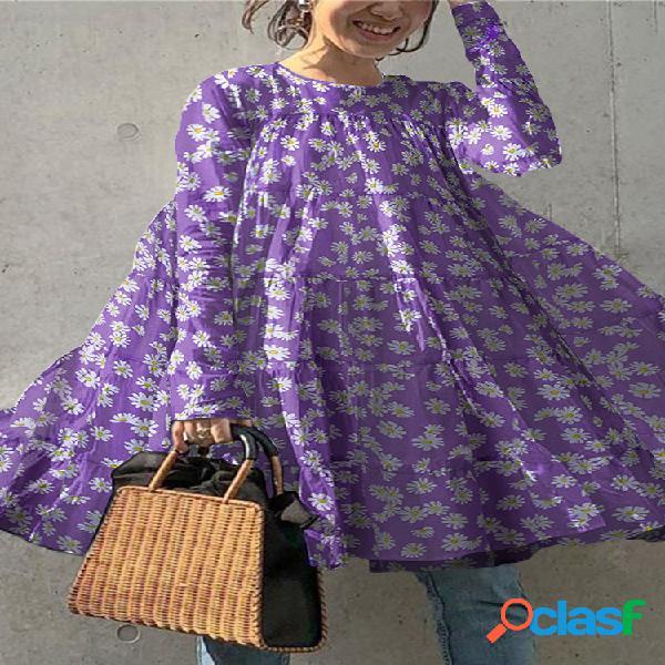 Blusa feminina de manga comprida com estampa floral margarida com gola o