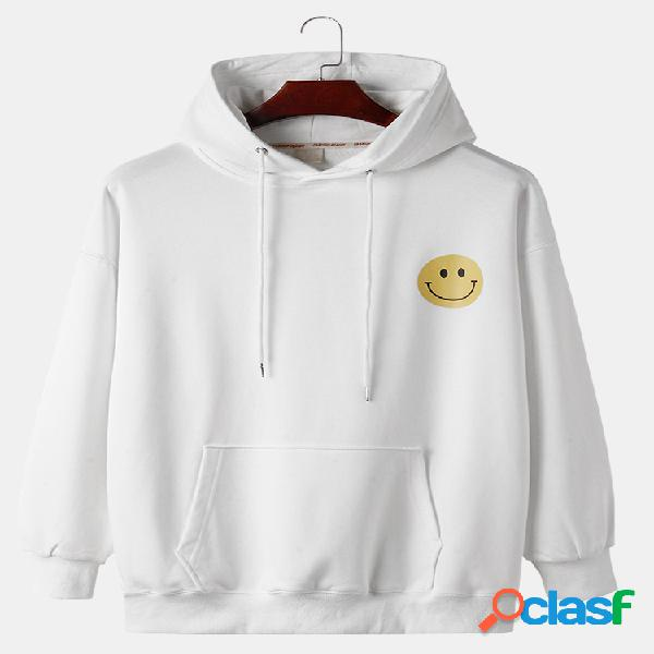 Moletons de algodão desenho animado sorriso rosto estampado solto canguru com capuz com cordão