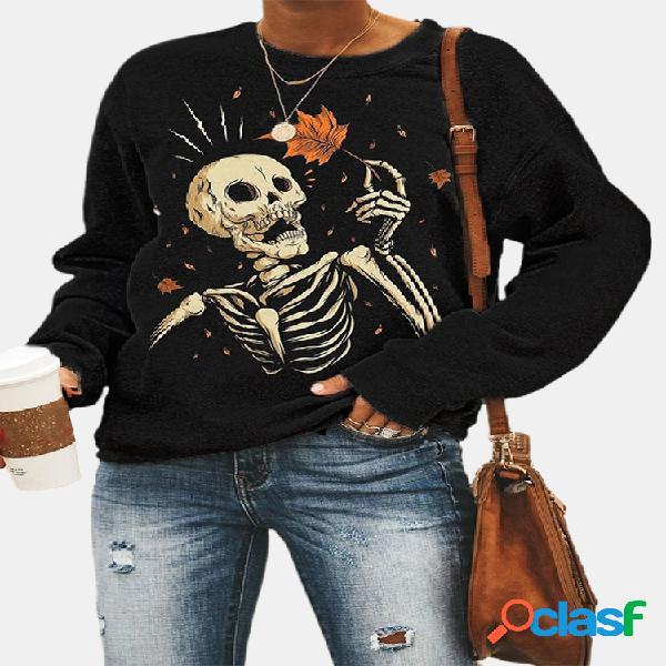 Crânio com estampa de manga comprida com decote em o moletom casual feminino