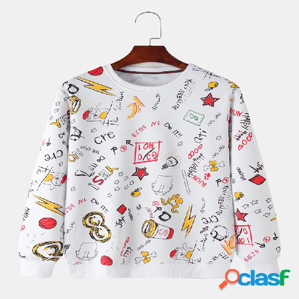 Suéter casual de algodão masculino todo impresso com letras impressas com gola redonda