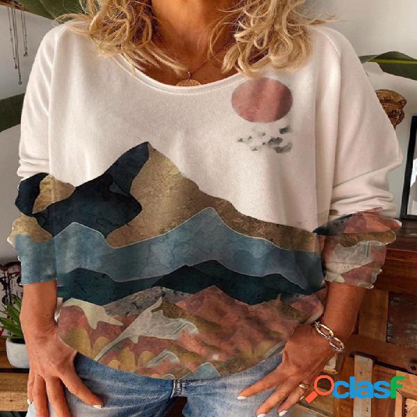 Blusa feminina de manga comprida com decote em o com estampa paisagem