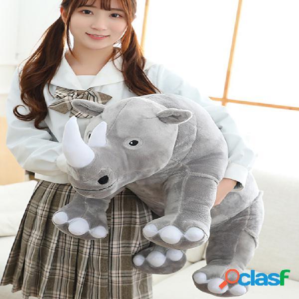 Brinquedos de pelúcia para rinocerontes grandes travesseiros de pelúcia para animais de pelúcia bonecos de zoológico almofada de bebê para brinquedos de pelúcia rhino