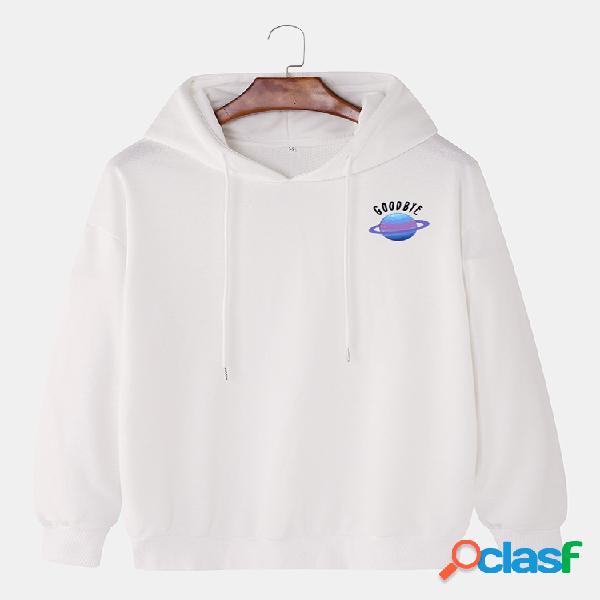 Mens planet letter impresso em algodão com capuz e ombro casual com cordão