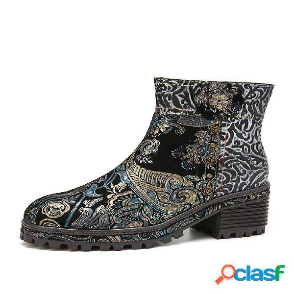 Socofy floral vintage impresso couro genuíno botas curtas de salto grande para vestir