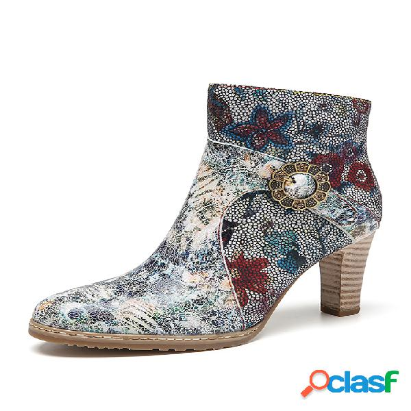 Socofy tie-dye impresso couro genuíno flores pano emenda fivela de metal decoração elegantes botas curtas de salto alto