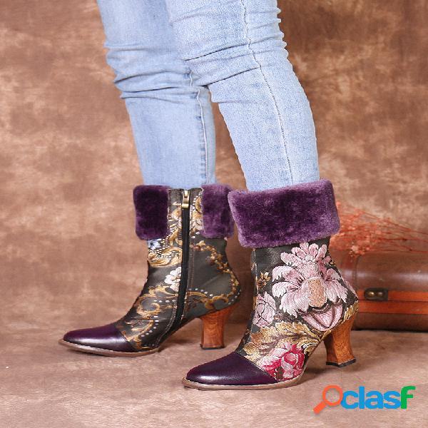 Bordado de flores socofy couro genuíno botas curtas com costura de costura de salto baixo