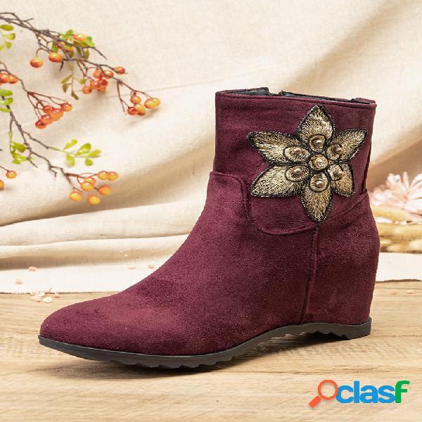 Flor sólida amêndoa toe feminino padrão decoração casual vestível botas curtas achatadas