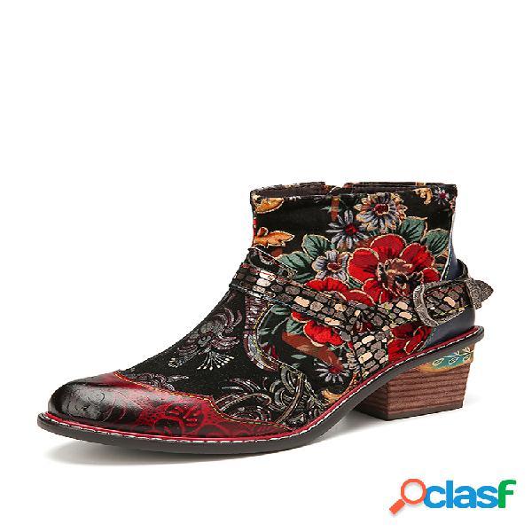 Socofy botas curtas elegantes de couro estampado floral vintage lindo estampado de couro