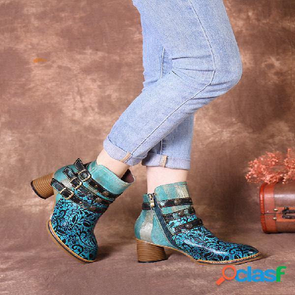 Socofy vintage couro genuíno tiras de fivela com forro quente decoração botas curtas de salto grosso de inverno