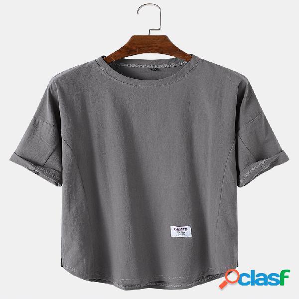 Camisetas masculinas de cor sólida respirável em volta do pescoço casual de manga curta